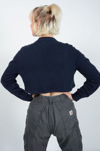 Vintage 90's Tommy Hilfiger Jumper Cropped Reworked Blue - M