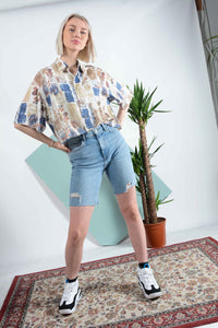 Abstract pattern cropped shirt