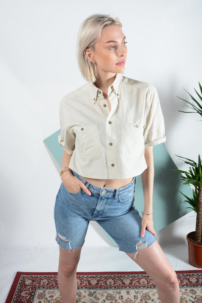 Reworked cropped cord shirt