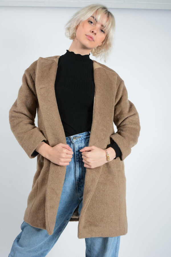 Vintage Coat with 60's Style Fit in Brown - M