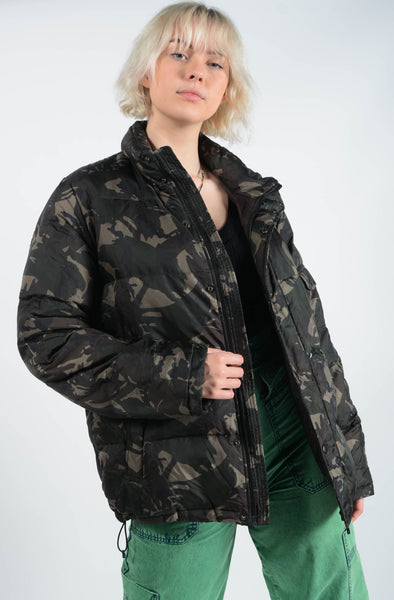 Vintage 90's Camo Puffer Jacket Green - XL