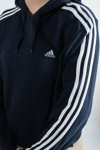 Vintage Adidas Hoodie with Logo and 3 Stripes in Black - M