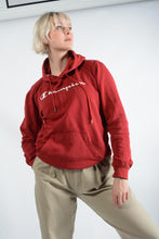 Load image into Gallery viewer, Vintage Champion Hoodie with Spell Out Logo in Red - M