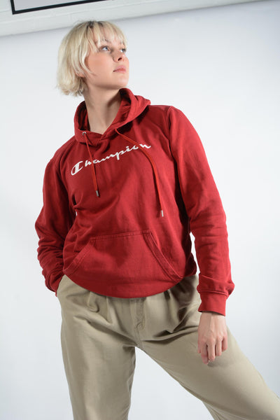 Vintage Champion Hoodie with Spell Out Logo in Red - M