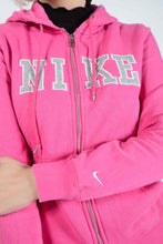 Load image into Gallery viewer, Vintage NIKE Hoodie in Pink with Spell Out Logo - M