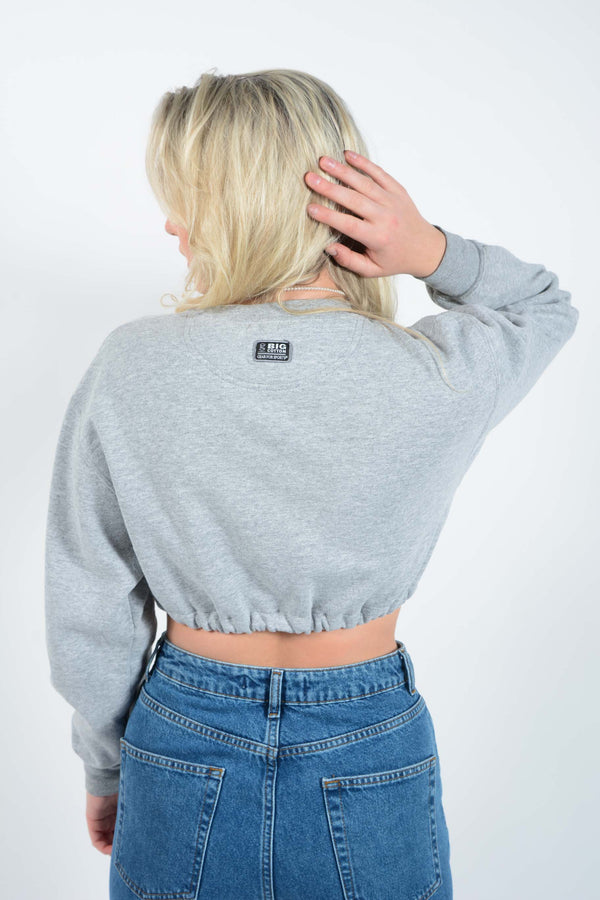 Cropped USA Sweatshirt with Elasticated Waist - S