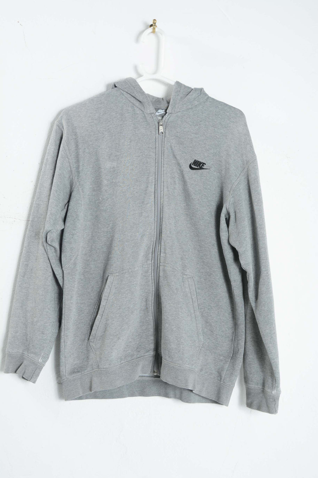 Vintage Nike Zip up Hoodie in Grey with Logo - M
