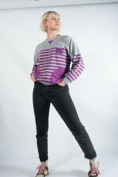 Vintage 80s Sweatshirt Grey Striped - M