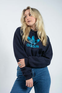 Cropped Adidas hoodie in blue with elasticated waist band