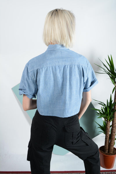 Reworked denim cropped shirt