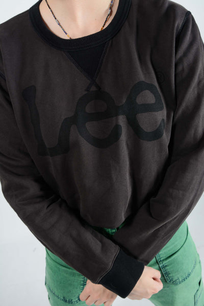 Vintage LEE Sweatshirt in Brown with Graphic Print Logo - M