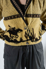 Load image into Gallery viewer, Vintage 80's Fleece Jacket Pattern Cowboy Brown - M