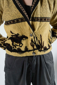 Vintage 80's Fleece Jacket Pattern Cowboy Brown - M