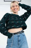 Vintage Cropped Rework Jumper in Green with Pattern - M