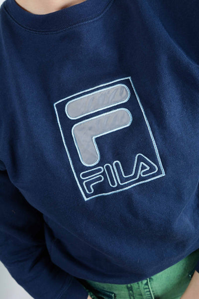 Vintage FILA Sweatshirt in Blue with Embroidery - XS