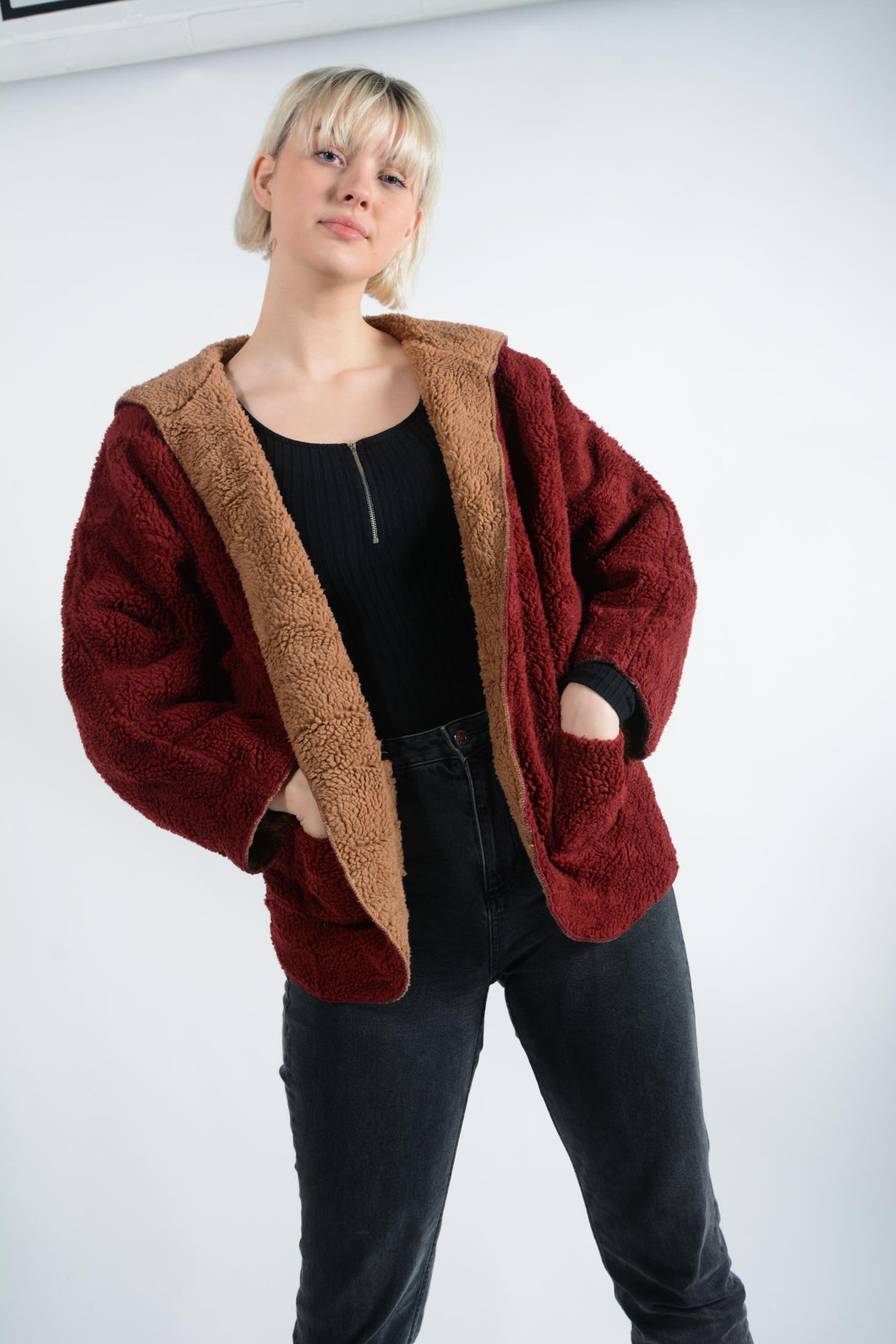 Vintage Fleece Jacket Teddy Material in Red - M