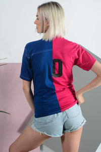 Reworked split sports print t-shirt