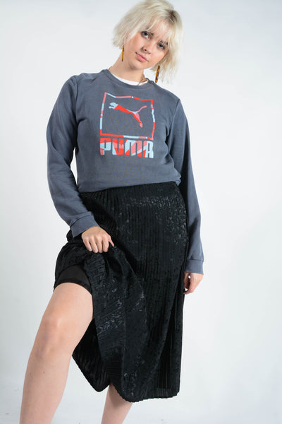 Vintage PUMA Sweatshirt in Blue with Graphic Print Logo - S