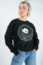 Load image into Gallery viewer, Vintage USA Sweatshirt in Black with Panda  Print - M