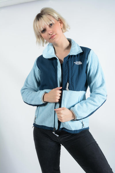 Vintage North Face Fleece Jacket in Blue with Logo - M