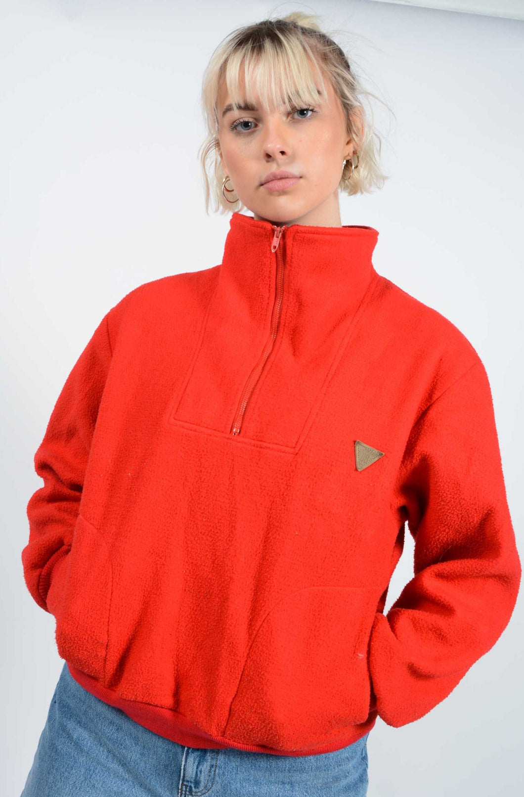Vintage 90's Fleece Jumper 1/4 Zip Cosy Red - M