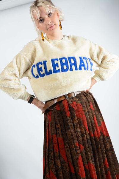 Vintage Teddy Fleece Jumper in Cream with Embroidery - L