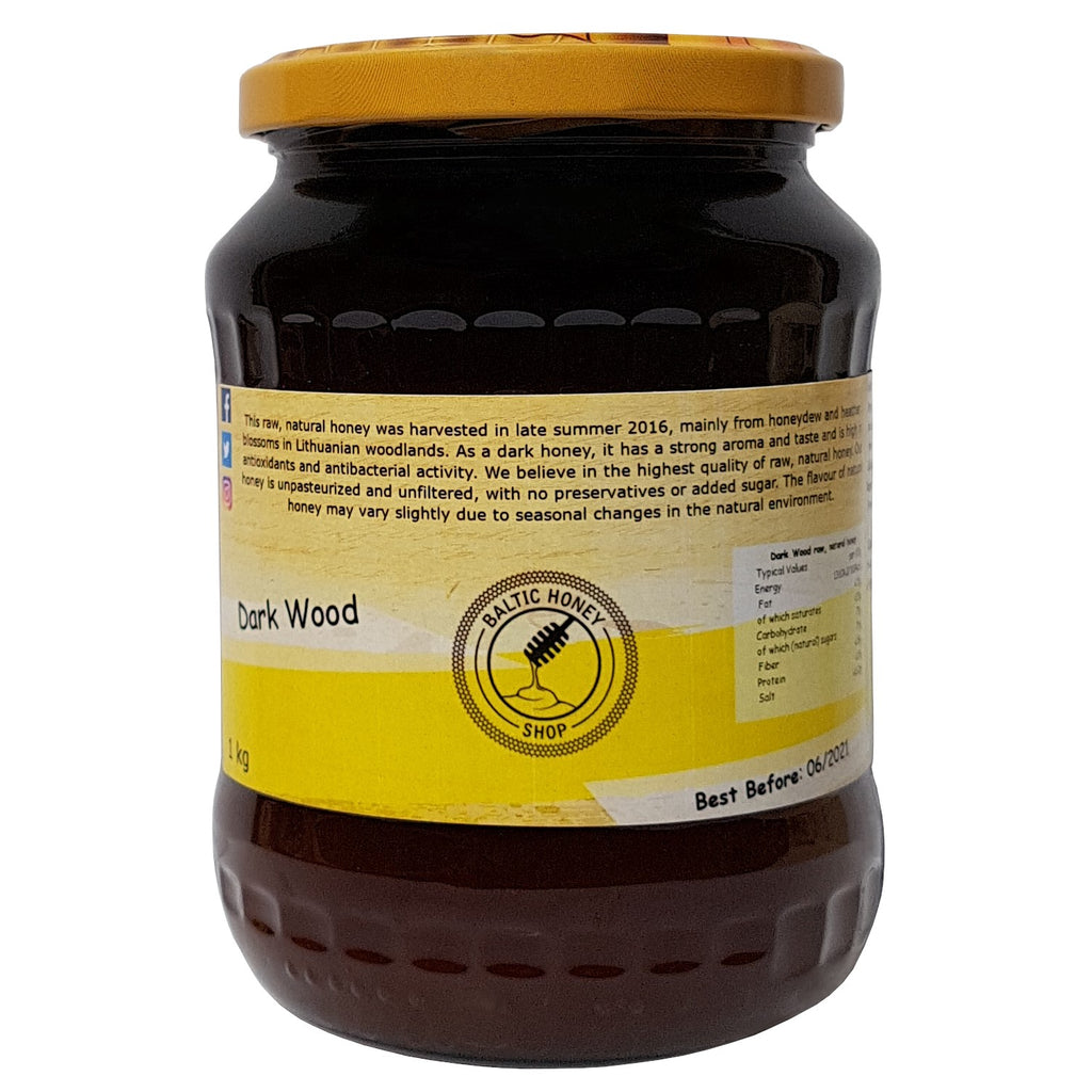 1 kg Jar of Raw Dark Wood Honey with the Baltic Honey Shop logo