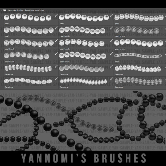 Yannomi's Brushes - pearls, gems and chain