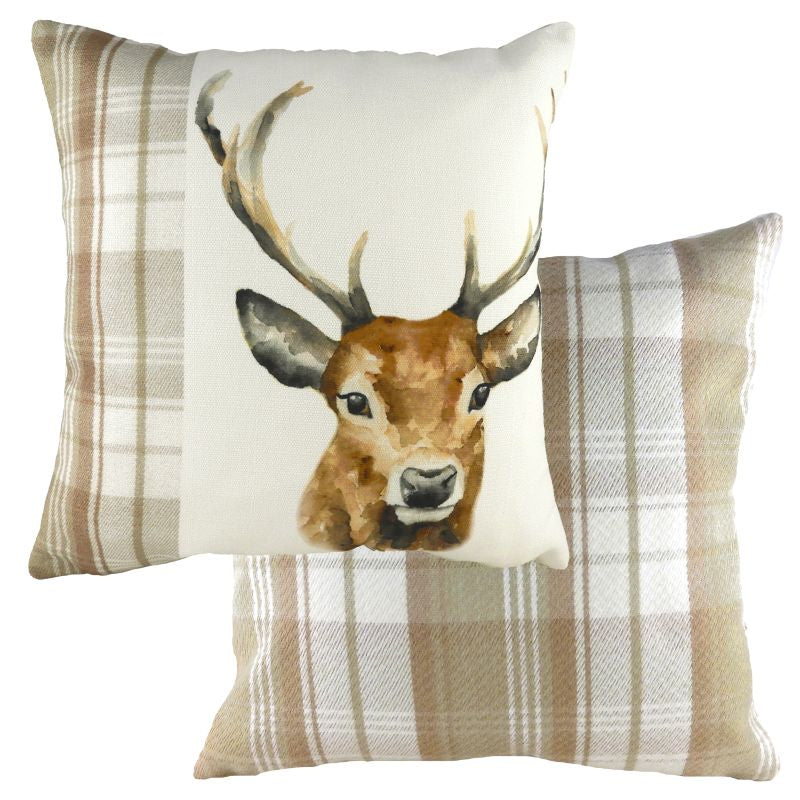 Print of a Reindeer on Cream Textured Fabric Evans Lichfield Cushion Cover