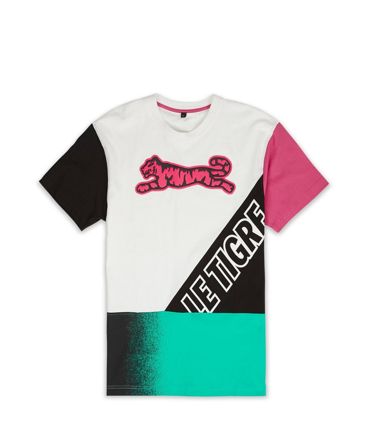 Le Tigre Retro Dash Tee. Pink, Green, Black cotton tee.