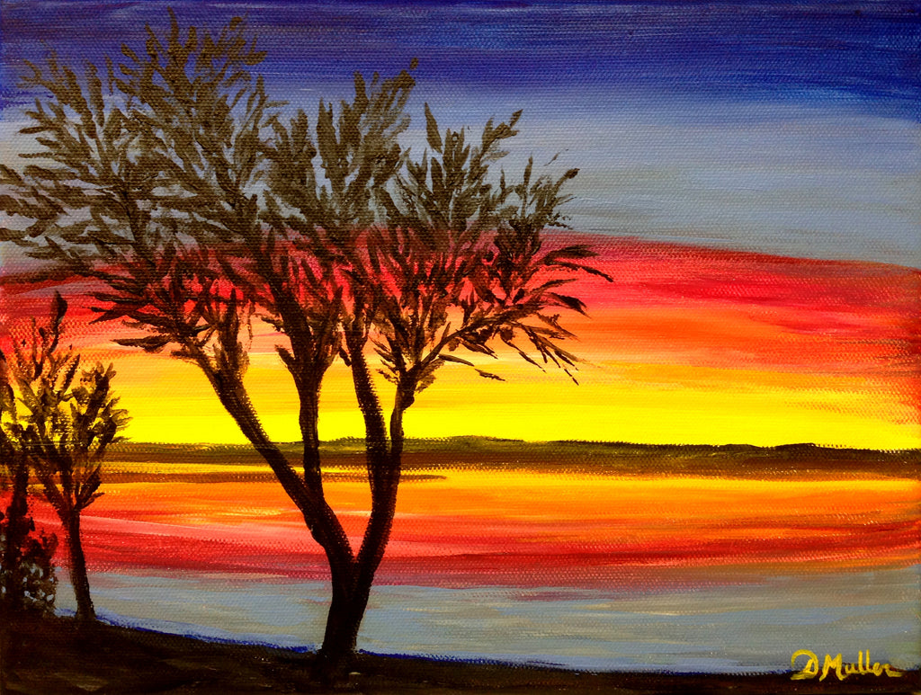 Sunset at the Beach Painting by Donna Muller