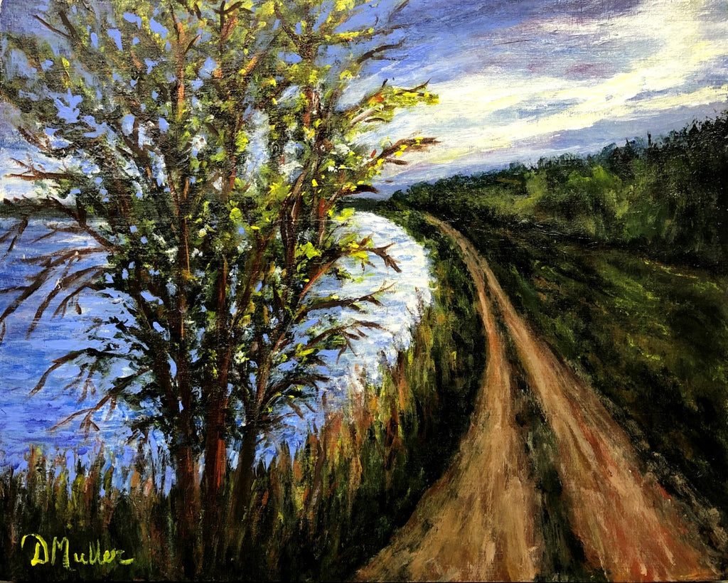 The Tree on the Path Painting by Donna Muller