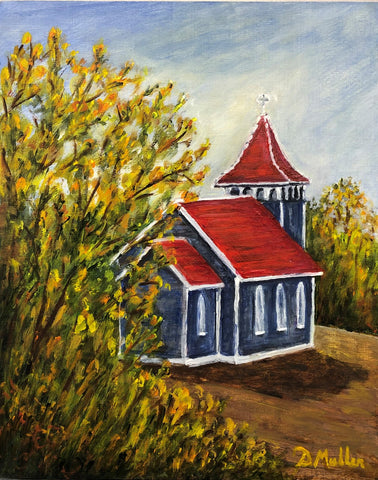 Little Church in the Prairie Painting by Donna Muller