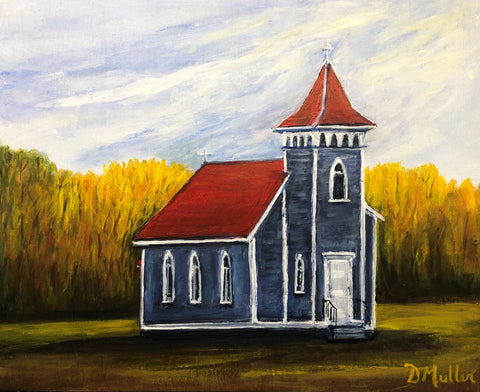 Country Church Acrylic Painting by Donna Muller