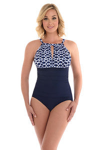 Penbrooke Indigo Cloud Split High Neck 1 Pc Swimsuit