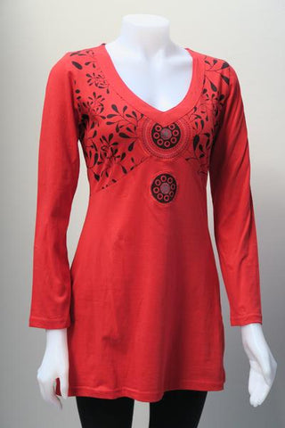Leopards and Roses Printed Bust Mandala Tunic