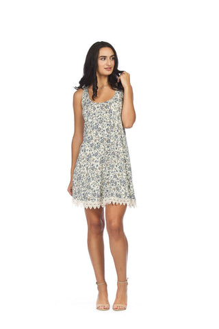 Papillon Floral ALine Dress with Lace Hem