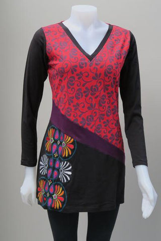 Leopards and Roses VNeck Embroidered Tunic