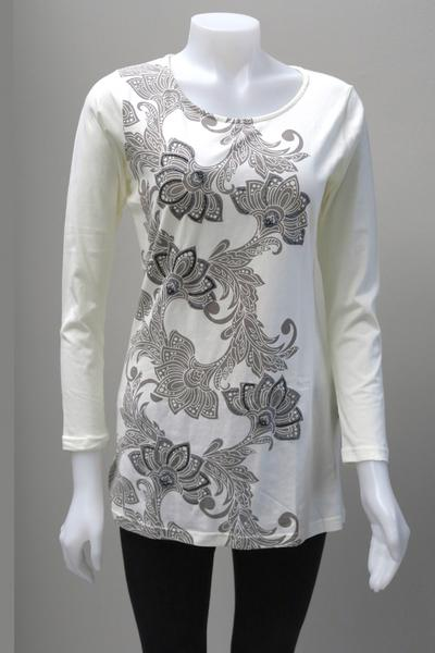 Leopards and Roses Organic Cotton Embroidered Flower Top