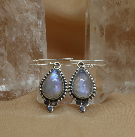 Rainbow Moonstone Dangle Earrings