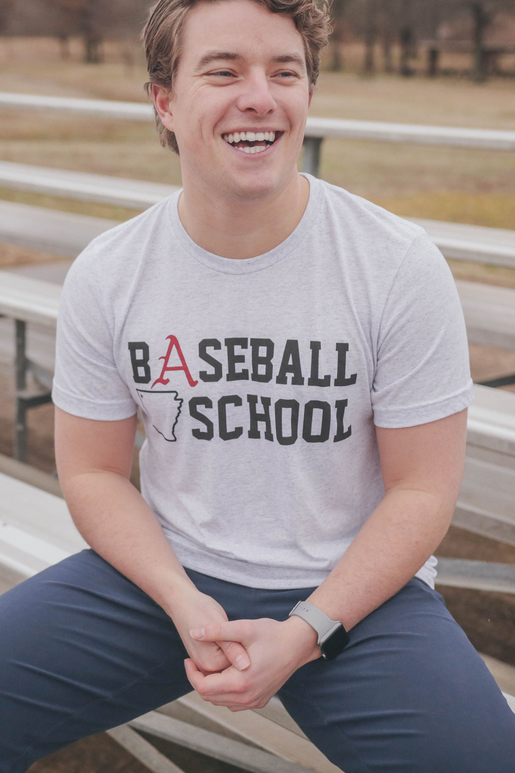 Baseball School T-Shirt White Fleck