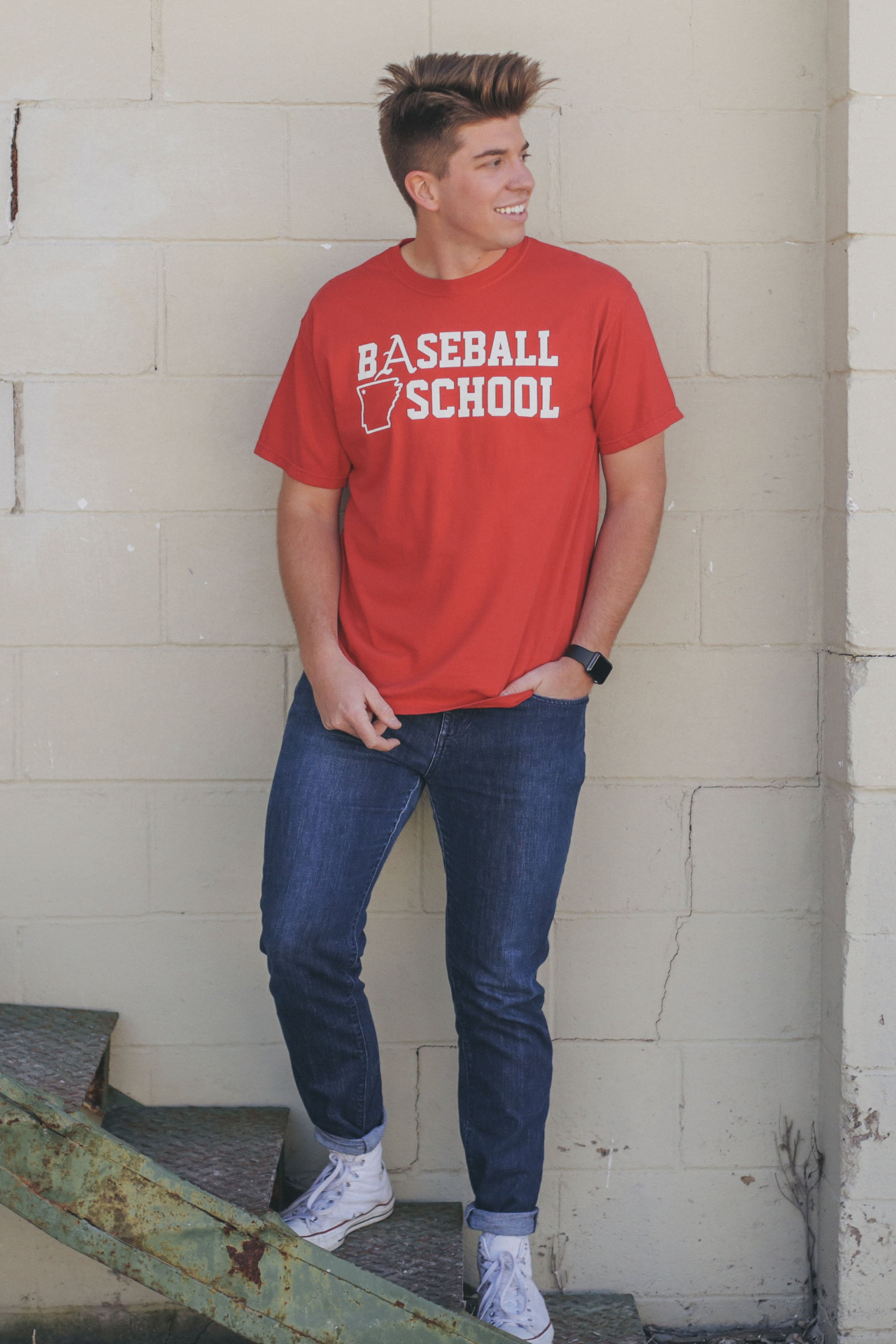 Baseball School T-Shirt Red