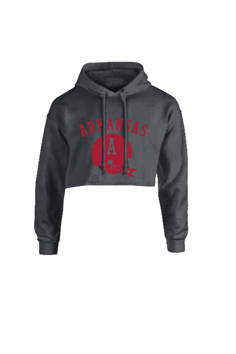 Old School Football Cropped Hoodie Black