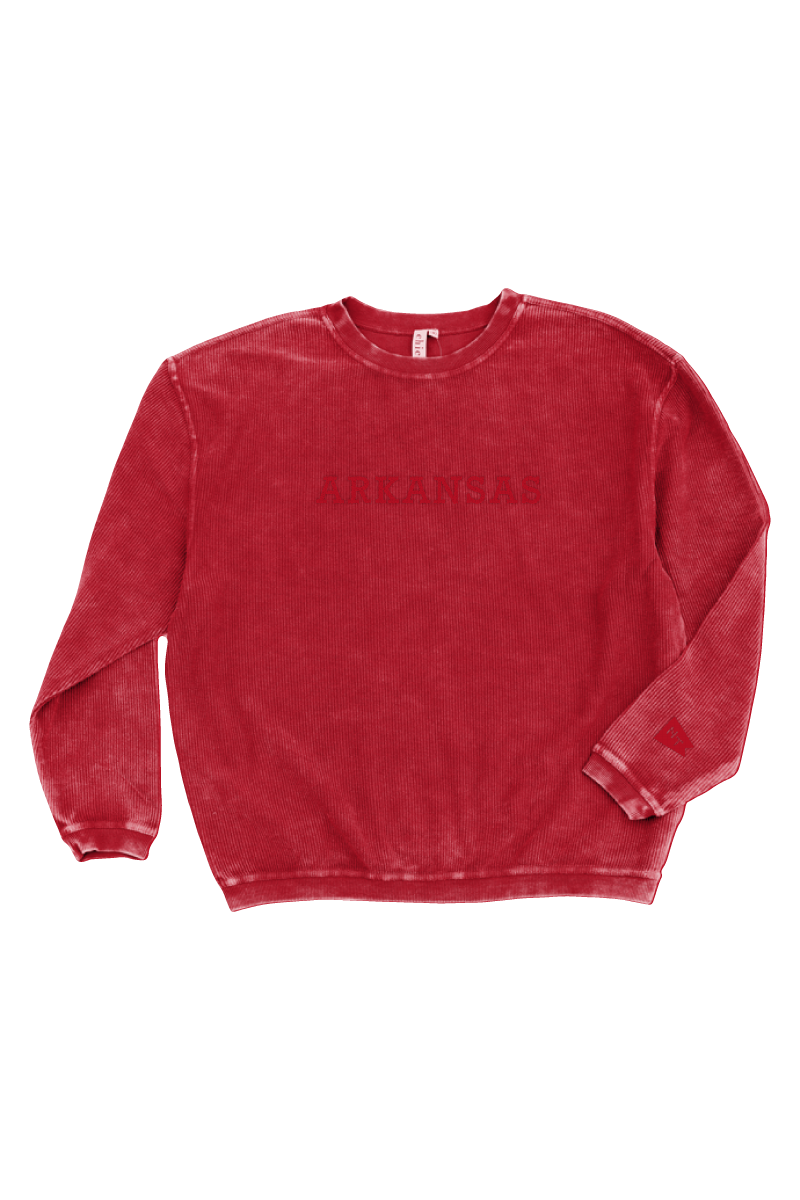 Arkansas Tonal Corded Sweatshirt Red
