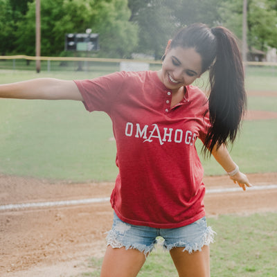 OmAhogs Henley T-Shirt Heather Cardinal