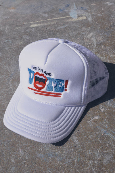 Get Out and Vote! Hat White