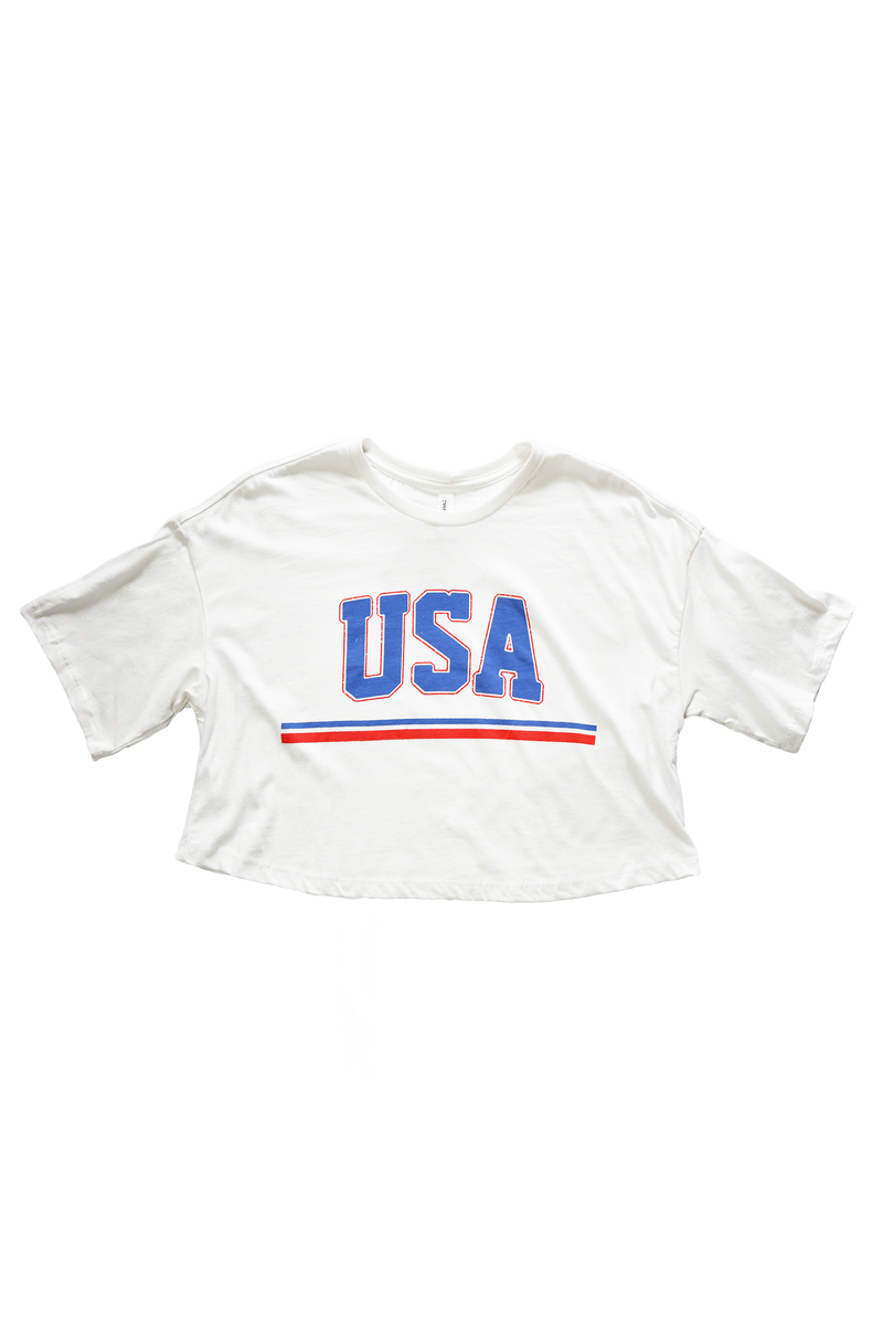 Throwback USA Crop T-Shirt