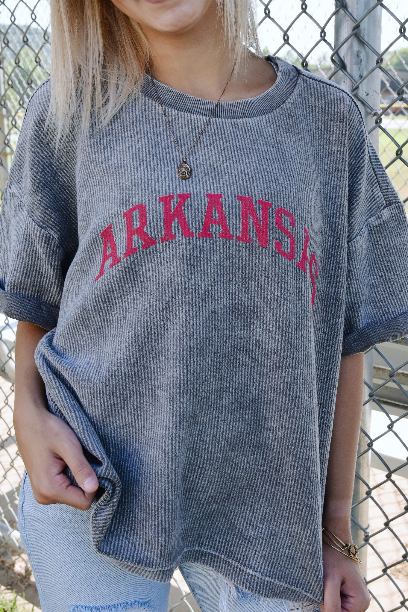 Arkansas Corded T-Shirt Charcoal
