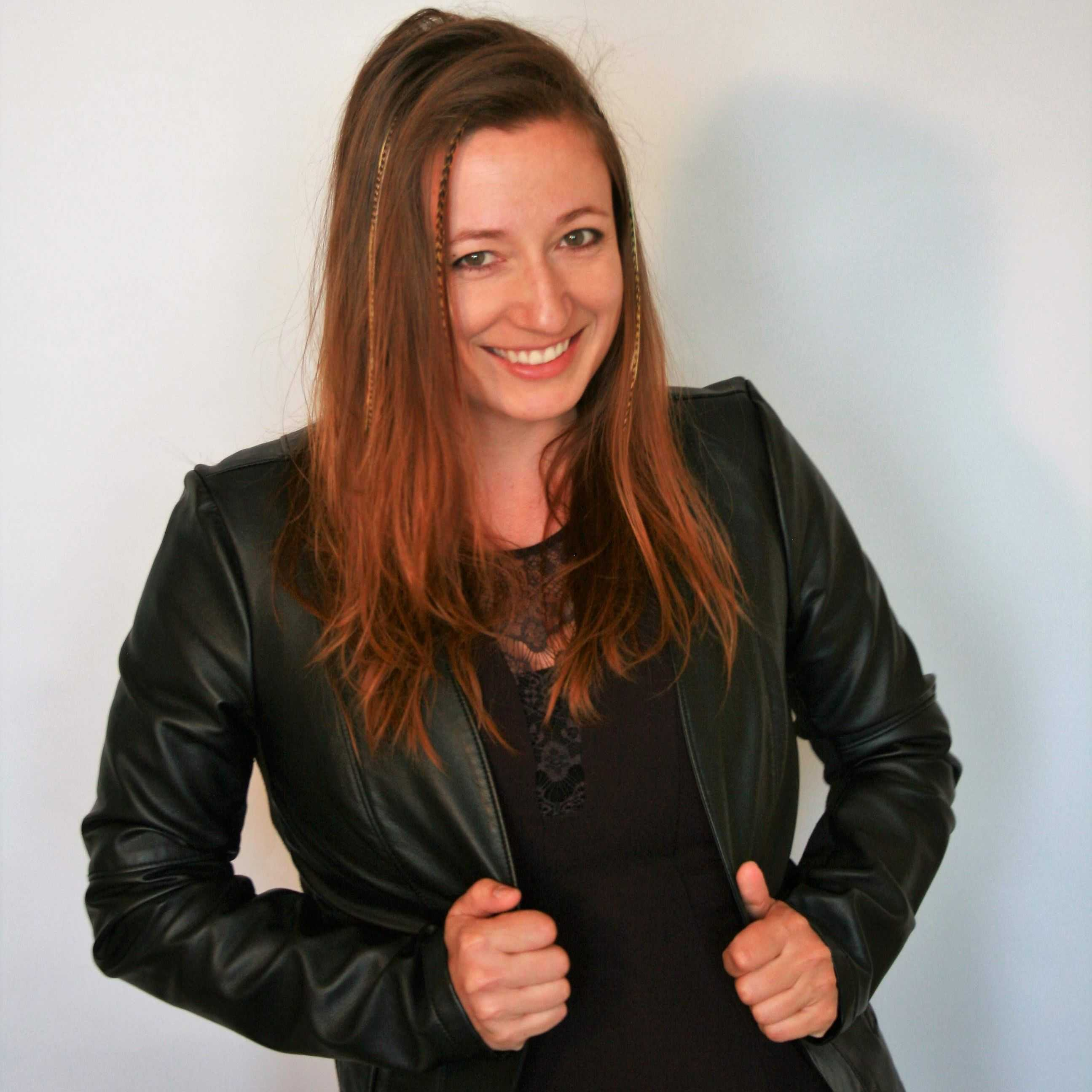 Fannie Huet spreadztrap inventor wearing leather coat