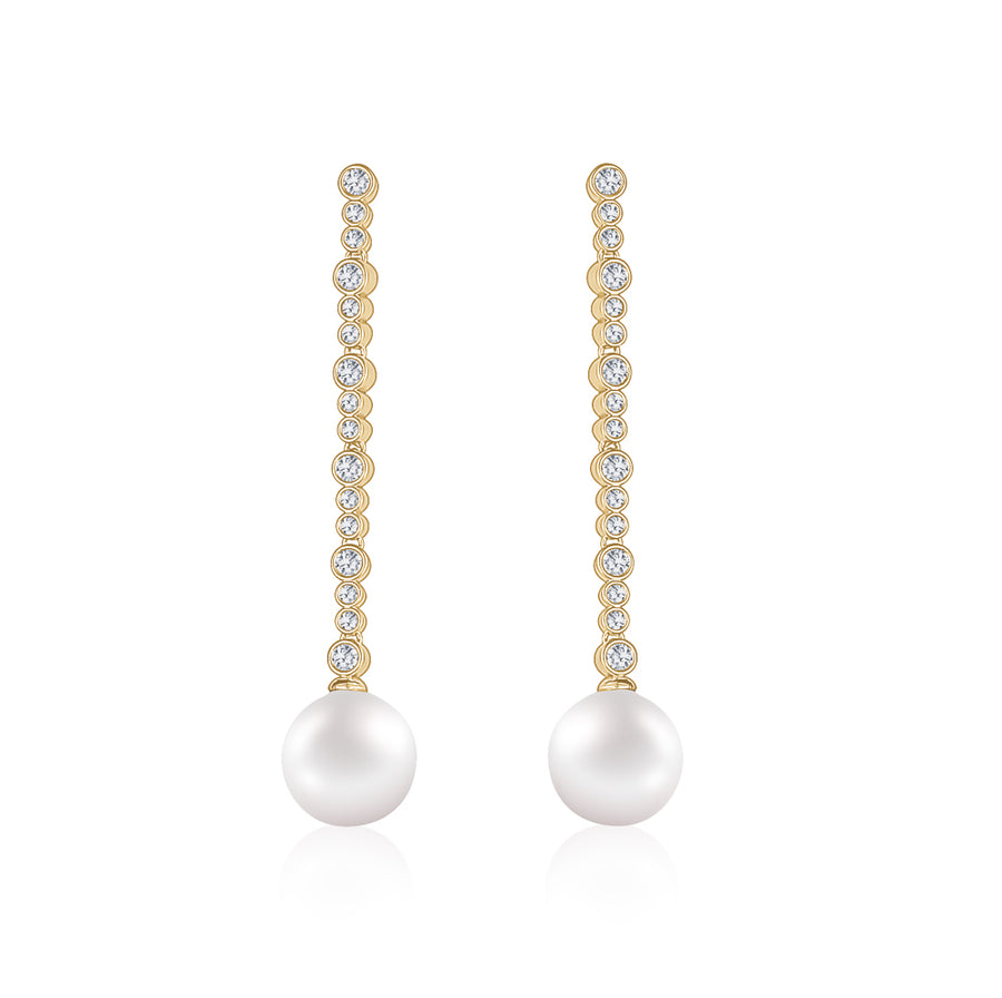 LONG CRYSTAL PEARL DROP EARRING - limlim official